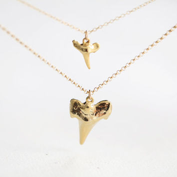 Layered Gold Shark Teeth Necklace - two strands shark tooth charms necklace
