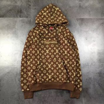 """Supreme"" Red LV Hoodies Winter Hoodies [11555860428]"