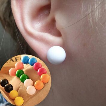 ES002 Stud Earrings For Women Fluorescent Candy Colored Frosted Ball Earrings Jewelry Bijoux Fasshion