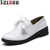 Keloch High Quality Women oxfords Flats Platform shoes Patent Leather Tassel Slip-on pointed Creepers black white Brogue Loafers