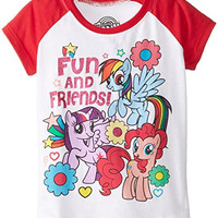 My Little Pony Little Girls' Fun and Friends Toddlers Girls Raglan Tee, White/Red, 3T