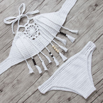 PINKCOSER Magic Show Crochet Tank Bikini Set