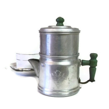 Vintage Drip-O-Lator Coffee Pot, Small Two Cup Drip Coffee Maker, The Enterprise Aluminum Company