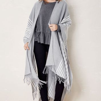 Cool For The WInter Ivory and Grey Striped Poncho-One Size