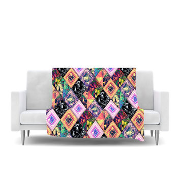 "Danny Ivan ""Never Run Away"" Multicolor Geometric Fleece Throw Blanket"