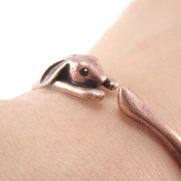 3D Bunny Rabbit Wrapped Around Your Wrist Shaped Bangle Bracelet in Copper