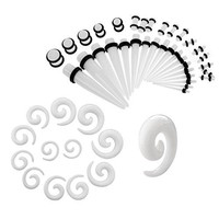 BodyJ4You Gauges Kit 27 Pairs White Acrylic Tapers Plugs & Spirals 14G-00G 54 Pieces