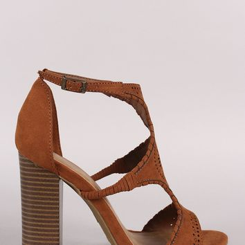 Bamboo Perforated Cutout Suede Chunky Heel