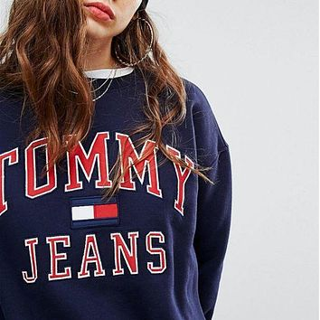 "Hot ""Tommy Hilfiger"" Fashion Women Men Loose Round Collar Print Logo Sweatshirt Pullover Top Sweater Dark Blue I"