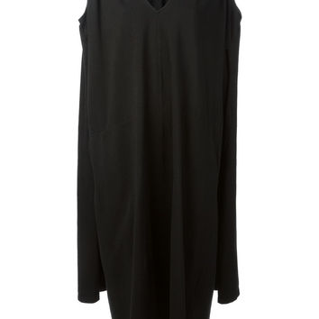 V-Neck Draped Dress in Black
