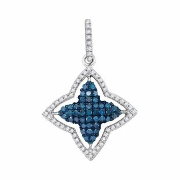 10kt White Gold Women's Round Blue Color Enhanced Diamond Star Frame Pendant 1-2 Cttw - FREE Shipping (US/CAN)