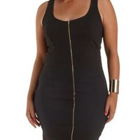 Plus Size Black Zip-Up Bodycon Dress by Charlotte Russe