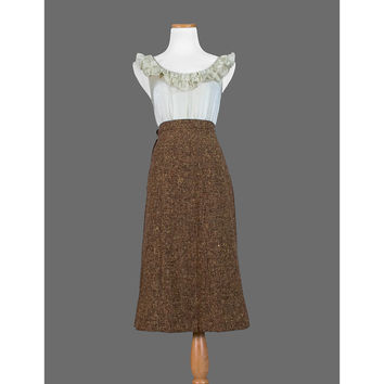1940s Tweed Skirt / 40s Brown Boucle Wool Skirt / Extra Small to Small / 20% COUPON SALE