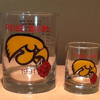 "Vintage collectible Iowa Hawkeyes 1991 Rose Bowl ""old fashion"" type cocktail glass & shot glass. 1990 Big Ten Champs, Coach Hayden Fry. Hawk"