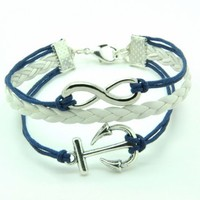 Navy Blue Rope and White Braided Leather Steampunk Adjustable Vintage Silver Karma Bracelet,infinit