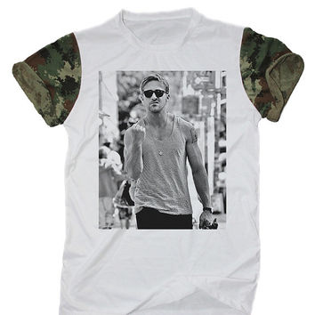 Ryan Gosling Tee Shirt White Camo Camouflage T-Shirt Size S M L