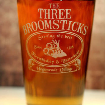 PERSONALIZED The Three Broomsticks Harry Potter Inspired Sandblasted Pint Glass