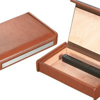 Visol Russell Brown Leather Travel Cigar Humidor - Holds 7 Cigars