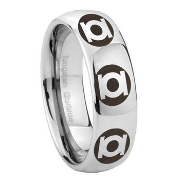 8MM Classic Mirror Dome Multiple Green Lantern Tungsten Carbide Silver Engraved Ring
