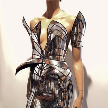 Chrome knight corset robot futuristic cosplay corset , sci fi costume, lady gaga corset , burning man, steampunk, futuristic clothing