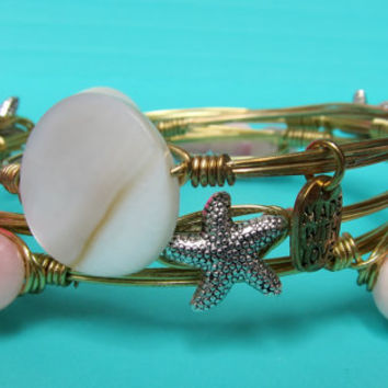Pink Beaded Wire Wrapped Gold Bangle Bracelet (Inspired by the popular Bourbon and Bowties) - great gift for bridesmaids, birthdays, etc.