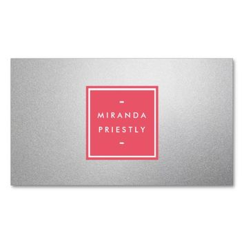 Modern Simple Pink and Faux Silver Foil Designer Business Card