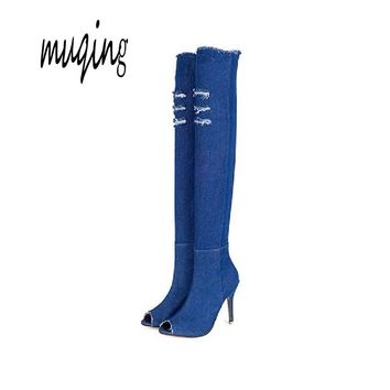 Muqing New Fashion Women Hole Denim High Heels Over The Knee Boots Spring Summer Sexy Peep Toe Thigh High Boots  WO177