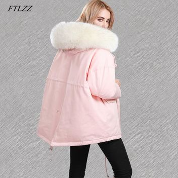 FTLZZ Winter Jacket Women Large Real Raccoon Fur Collar White Duck Down Parkas Coat Female Hooded Pockets Dovetail Snow Outwear