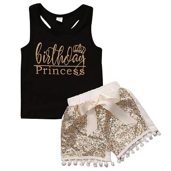 2PCS Newborn Baby Kids Girl Sleeveless Tank Top Vest+ Sequins Shorts Pants Sunsuit Outfit Clothes Set