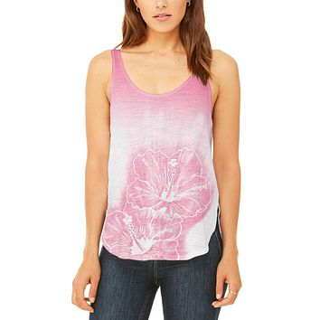 Ombre Hawaii Red Hibiscus Flowers Juniors Flowy Side Slit Tank Top