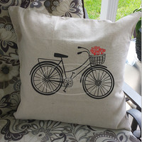 Bicycle toss pillow cover with flowers or without, special touch for your home decor!