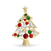 Crystal Red Green Large Statement Decorated Christmas Tree Brooch Pin