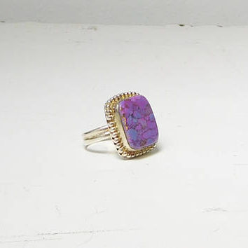 Large Purple Jasper Ring Big Square Stone Silver Tone Setting and Band Vintage Size 7 Hippie Bohemian Jewelry