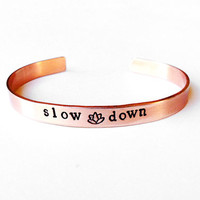 copper bangle bracelet, yoga meditation jewelry mindfulness zen lotus flower.