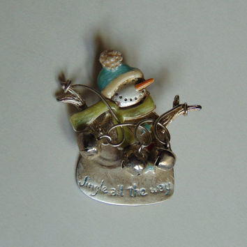 Snowman Signed TC Jingle All the Way Christmas Pin, Brooch, Lapel