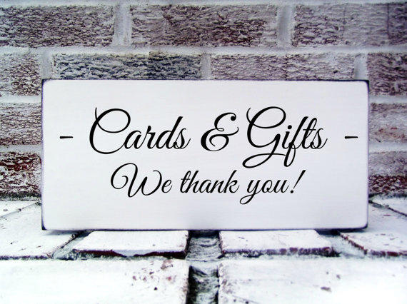 "Thank You Card Wedding Gift: Wedding Signs ""Cards & Gifts, We Thank From"
