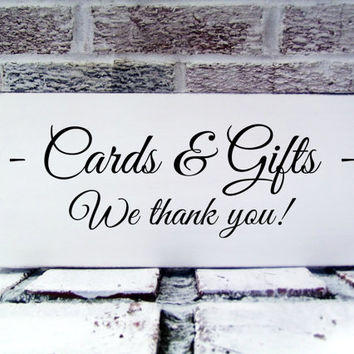 "Wedding Signs ""Cards & Gifts, We thank you"" for your card table - bridal shower, baby shower, anniversary party, birthday party decor"