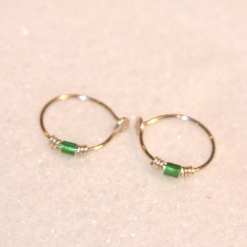 Green Beaded Small Cartilage Earrings, Lobe Hoops, Ear Cuff, Helix Hoops, Nose Rings, Gold Silver Hoops, Piercing Jewelry, Hoops