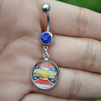 Chevy Rebel Flag Belly Ring
