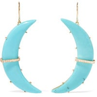 Andrea Fohrman - Crescent Moon 18-karat gold, turquoise and diamond earrings