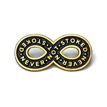 Never Not Stoked Lapel Pin - Black/Gold