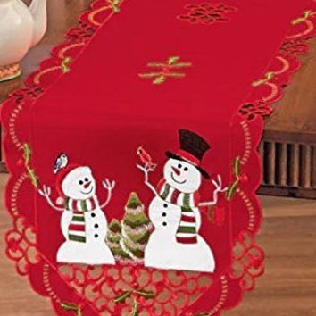 Red Embroidered Lacy Winter Snowman Holly Songbirds Table Runner