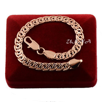Men's Woman 7mm   Rose Gold Plated Filled Bracelet Bangles 18cm-23cm Jewelry