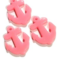 Pink nautical anchor resin cabochon 27x33mm / 1-5 pieces