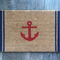 Anchor with Stripes Nautical Welcome Mat