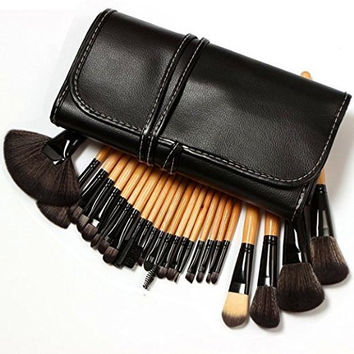 Professional 24 Piece All Natural Real Hair Makeup Brush Set - Handle Pcs Cosmetic Beauty Brushes Kit - Make Up Leather Organizer Case / Bag