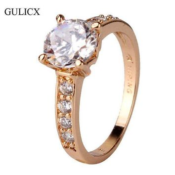 Gulicx 2017 Vintage Mount Midi Ring For Women Gold Color Ring Round Big Crystal Zirconia Cubic Band Engagement Ring R125