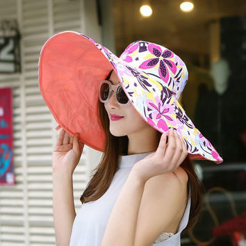 Large brim beach sun hats for women UV protection women caps