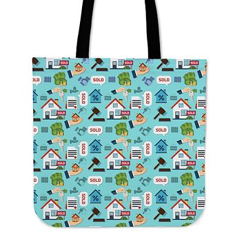 Real Estate Pattern Linen Tote Bag