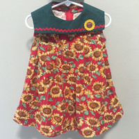 Sunflowers Dress, Toddler Girls Vintage Dress, Vintage Kids Sleeveless Dress, Baby Toddler Sun Dress, Sunflower Dress, Girls Summer Dress 2T